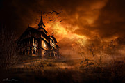 Halloween House Posters - Forbidden Mansion Poster by Svetlana Sewell