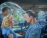 Leslie Nielsen Painting Framed Prints - Forbidden Planet Framed Print by Bryan Bustard