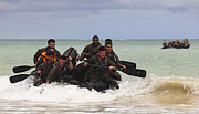 Inflatable Photos - Force Reconnaissance Marines Paddle by Stocktrek Images
