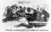 Abolition Posters - Forcing Slavery Down The Throat Poster by Everett