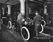 Ford Model T Car Posters - Ford Assembly Line Poster by Omikron