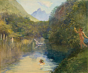 Arcadia Posters - Ford at the Upper End of the Vai-Te-Piha Poster by John LaFarge