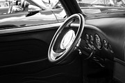 Carolyn Stagger Cokley Acrylic Prints - ford convertible BW Acrylic Print by Carolyn Stagger Cokley
