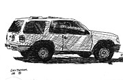 Pen And Ink Drawing Art - Ford Explorer by Eric Tressler