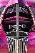 Pink Hot Rod Framed Prints - Ford Hot Rod Grille Framed Print by Jill Reger