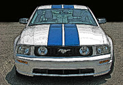 Sheats Prints - Ford Mustang GT Front View Print by Samuel Sheats