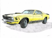 Automotive Drawings - Ford Mustang Mach III by Dan Poll