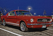 Classic Car.hot-rod Photos - Ford Mustang Red Classic Fastback  by Pictures HDR