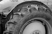 Tire Prints - Ford Tractor in Black and White Print by Jennifer Lyon