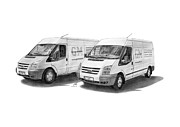 Panel Drawings - Ford Transit Panel Vans by Gabor Vida