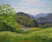 Landscapes Painting Originals - Fords Pond in Spring by Karen Ilari
