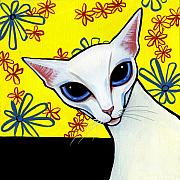 Cat Drawings Prints - Foreign White Cat Print by Leanne Wilkes
