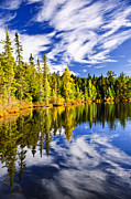 Autumn Trees Photo Prints - Forest and sky reflecting in lake Print by Elena Elisseeva