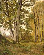 Foliage Paintings - Forest at Fontainebleau by Henri-Joseph Harpignies
