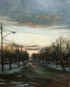 Snow Scene Paintings - Forest Avenue - January by Sarah Yuster