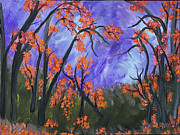 Tree Blossoms Paintings - Forest Blossoms by Suzeee Creates