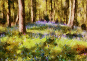 Tradigital Art Prints - Forest Bluebells Print by Zeana Romanovna