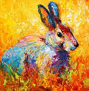 Rabbit Painting Posters - Forest Bunny Poster by Marion Rose