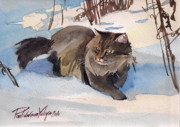 Watercolor Cat Paintings - Forest Cat by Yuliya Podlinnova