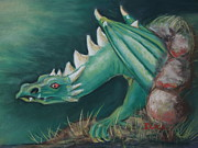 Creature Pastels Framed Prints - Forest Dragon Framed Print by Dianne  Ilka