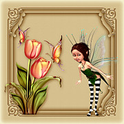 Fairy Art For Sale Framed Prints - Forest Fairy in the garden Framed Print by John Junek