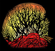 Block Print Art - Forest Fire, Lino Print by Gary Hincks