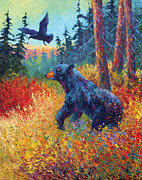 Black Bear Art - Forest Friends by Marion Rose