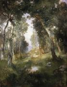 United States Paintings - Forest Glade by Thomas Moran