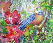 Mangrove Cuckoo Paintings - Forest Guardian by Deborah Younglao