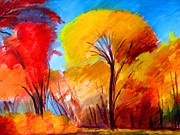 Fall Landscape Mixed Media Prints - Forest In Fall Print by Dan Haraga