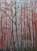 Folkartanna Painting Metal Prints - Forest in the Fog Metal Print by Anna Folkartanna Maciejewska-Dyba