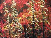 Forest Paintings - Forest in the Red by Dan  Whittemore