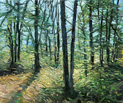 Green Day Paintings - Forest in the spring by Jack Tzekov