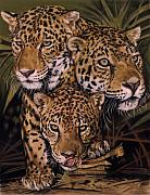 Jaguar Pastels Posters - Forest Jewels Poster by Barbara Keith