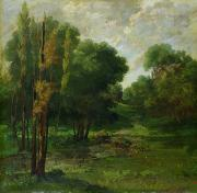 Outdoors Tapestries Textiles - Forest Landscape by Gustave Courbet
