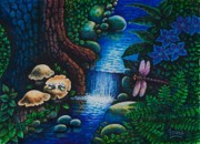 Toadstools Painting Originals - Forest Never Sleeps Chapter- Midnight Rendezvous by Michael Frank