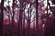 Landscapes Digital Art Originals - Forest of trees in winter twilight by Phill Petrovic