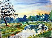 Louis Paintings - Forest Park at dawn by Horacio Prada