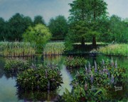 Louis Paintings - Forest Park Pond Scene by Michael Frank