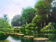 Louis Paintings - Forest Park Stepping Stones by Michael Frank