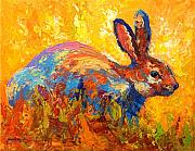Rabbit Painting Posters - Forest Rabbit II Poster by Marion Rose