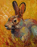 Wildlife Painting Posters - Forest Rabbit III Poster by Marion Rose