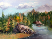 Impressionism Tapestries Textiles Originals - Forest River Landscape Oil Painting by Artist Mark Webster. by Mark Webster