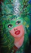 Mardi Gras Paintings - Forest Sprite by Vera Lowdermilk