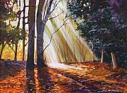Sun Rays Paintings - Forest Sunburst by Jim Mc Partlin