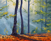 Fiery Paintings - Forest Sunrays by Graham Gercken