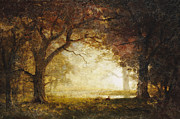Landscape; American; Wood; Dawn; Clearing; Deer Posters - Forest Sunrise Poster by Albert Bierstadt