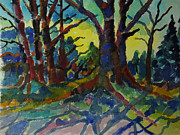Light And Dark   Painting Prints - Forest Twilight Print by Donald McGibbon