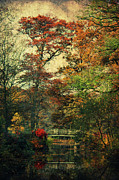 Autumn Landscape Mixed Media Posters - Forest Vintage Poster by Angela Doelling AD DESIGN Photo and PhotoArt