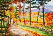 Talking Metal Prints - Forever Autumn Watercolor Painting Metal Print by Michelle Wiarda
